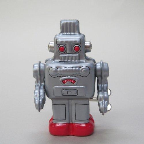 Tin toy robot Silver clockwork walking