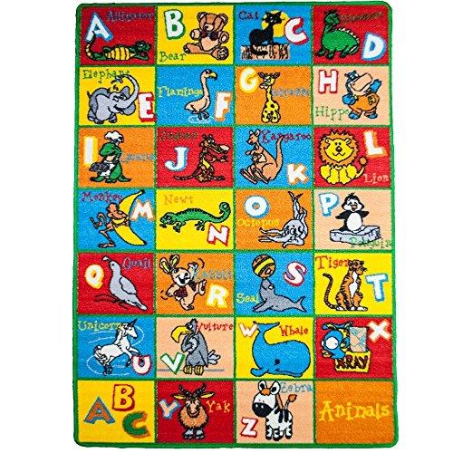 Kids Rug ABC Animals 5 X 7 Children Area Rug - Non Skid Gel Backing 59 x 82