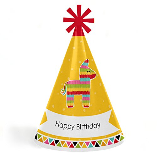 Lets Fiesta - Cone Mexican Fiesta Happy Birthday Party Hats for Kids and Adults - Set of 8 Standard Size