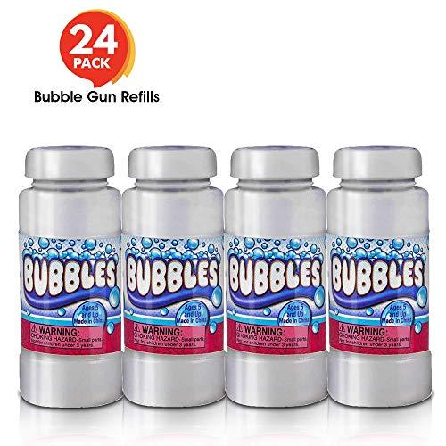 ArtCreativity 4 oz Bubble Solution Refill for Bubble Guns - 24 Pack 4oz Each - 24 Bottles Non-Toxic Bubble Fluid for Kids - Liquid for Bubble Machine Bubble Blowing Gun and Toy Wands