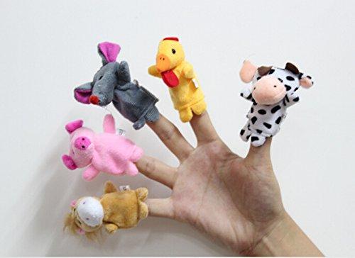Acekid 12pcs Soft Plush Animal Finger Puppets Set Velvet Animal Style