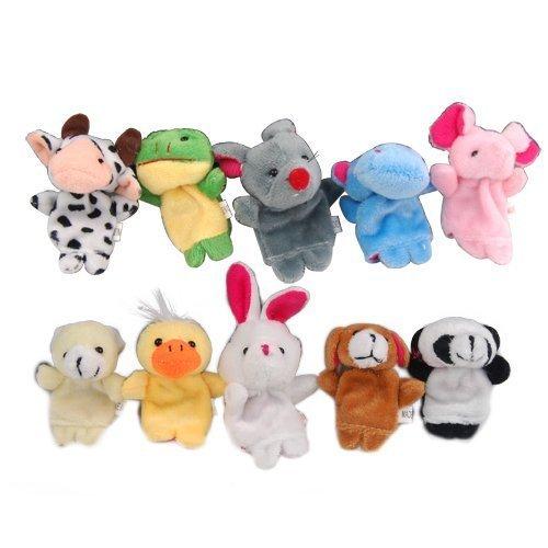 Carejoy 1 Set of 10 Pc Soft Plush Animal Finger Puppet Set includes Elephant Panda Duck Rabbit Frog Mouse Cow Bear Dog Hippo