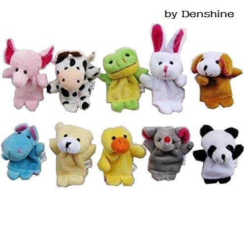 Denshine10 Pcs Soft Plush Velvet Animal Style Finger Puppets Set