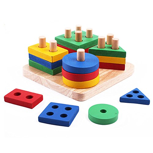 Wooden Shape SorterYUYUGO Educational Preschool Color Recognition Geometric Board Block Sort Puzzle Toy for Kids Children Toddler