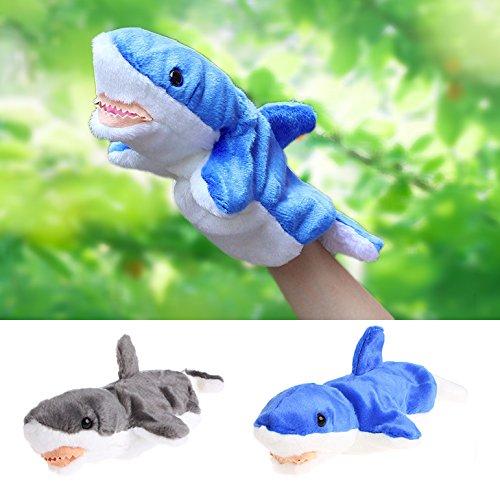 Delight eShop Hand Finger Puppet Toys Cartoon Animal Plush Shark Doll Gift For Baby Kids Blue