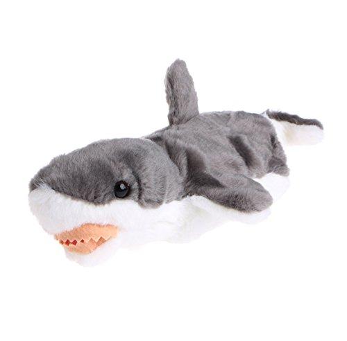 Magicub Kid Animal Hand Finger Puppet Plush Shark Doll Baby Development Teaching Toys Gray