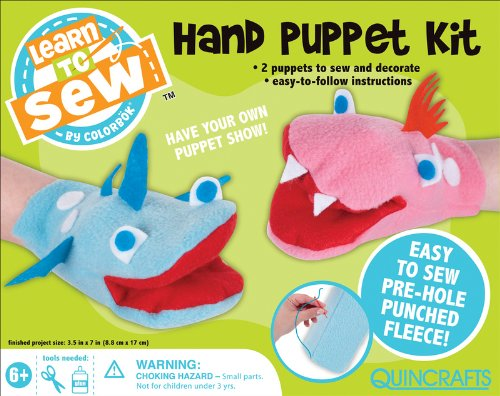 Colorbok Learn To Sew Hand Puppet Kit 3-12-Inch by 7-Inch 2Pkg