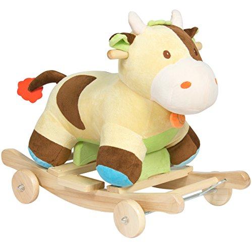 Best Choice Products Kids Ride On Plush Cow Animal Rocker W Wheels Children Toy Rocking Chair- GreenBrown