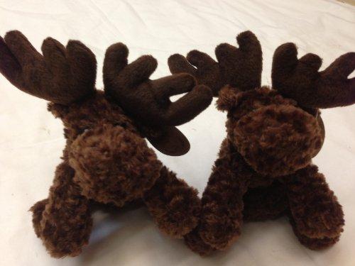 Floppy Moose Plush Small Toy Miniature 6 Inch Long 2 Pcsset