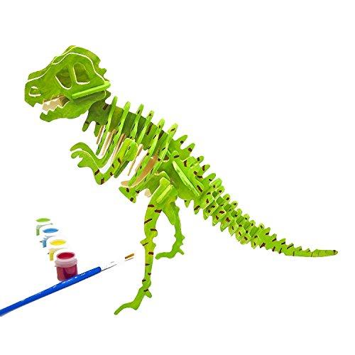 EVAIL 3d Puzzle Arts Projects Craft Wood 3d Puzzles for Kids Ages 4-8 Assemble Paint DIY Animal Crafts T-Rex Dinosaurs
