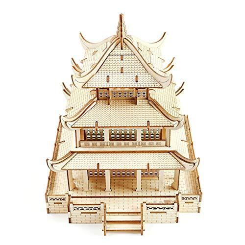 GEQWE 3D Puzzles 3D Puzzles Architecture Building Model Kits Toys for Adults Wooden Puzzle Model Kit Color  Picture Color Size  205x238x23cm