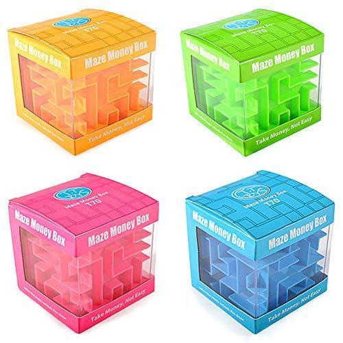 4 Pcs Money Maze Puzzle Boxes - Money Holder Brain Teasers for Kids Adults Unique Valentine Birthday Ideal Gifts for Men Women Children School Season