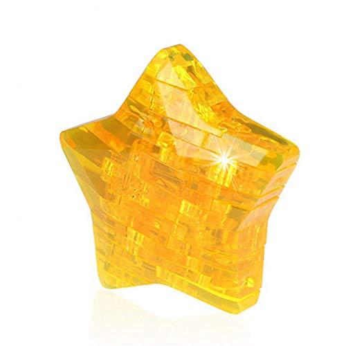 AKSmile DIY Toys 3D Crystal Puzzle Star Assembly Model Toy for Desk Decor Brain Teaser Children - Yellow