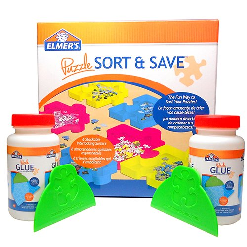 Elmers Puzzle Glue Sorter Pack Includes 6 Puzzle Shaped Trays 2 Glue Bottles Spreaders