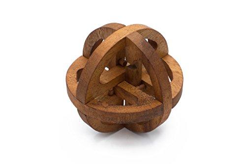 SiamMandalay Interlocking Wooden Brain Teaser Galileo Globe Puzzle - Global Interlocking Puzzle