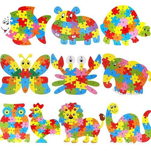 Lanlan Wooden Cartoon Butterfly PuzzleIntelligence Jigsaw 26 Letter Blocks Kid Learing Educational Toy for Kids
