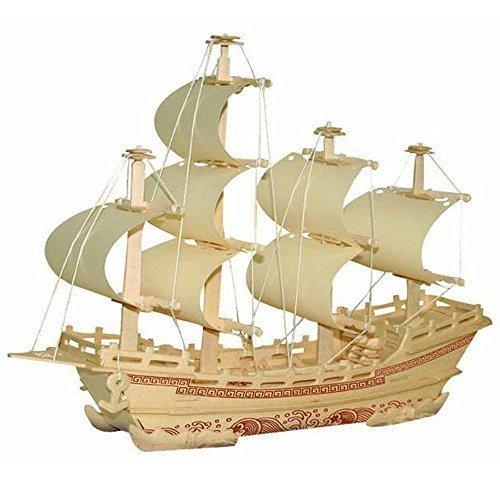 3D DIY Wooden Puzzle Toy Silk Merchant Ship Boat Model for Children Adult