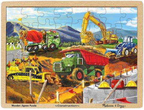 Melissa Doug Construction Vehicles Wooden Jigsaw Puzzle With Storage Tray 48 pcs