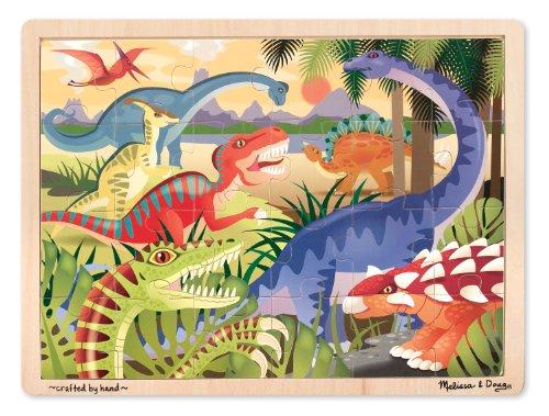 Melissa Doug Dinosaurs Wooden Jigsaw Puzzle With Storage Tray 24 pcs