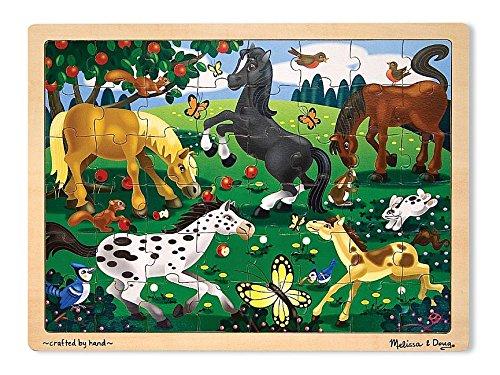 Melissa Doug Frolicking Horses Wooden Jigsaw Puzzle With Storage Tray 48 pcs