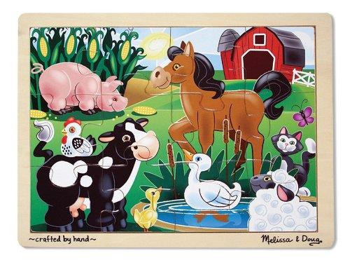 Melissa Doug On the Farm Wooden Jigsaw Puzzle With Storage Tray 12 pcs