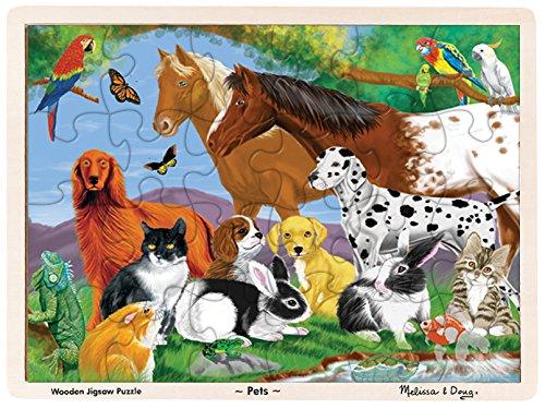 Melissa Doug Pets Wooden Jigsaw Puzzle With Storage Tray 24 pcs