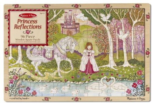 Melissa Doug Princess Reflections Wooden Jigsaw Puzzle With Storage Tray 96 pcs