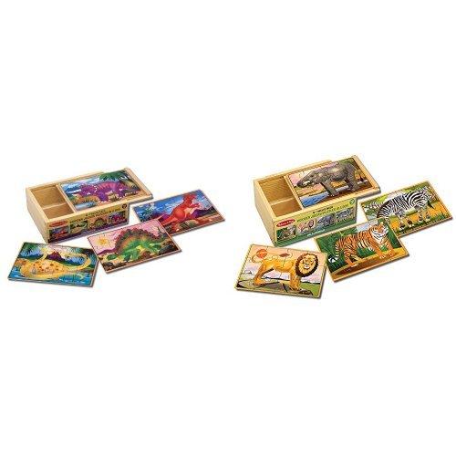 Melissa Doug Dinosaur Wild Animals Jigsaw Puzzles Bundle