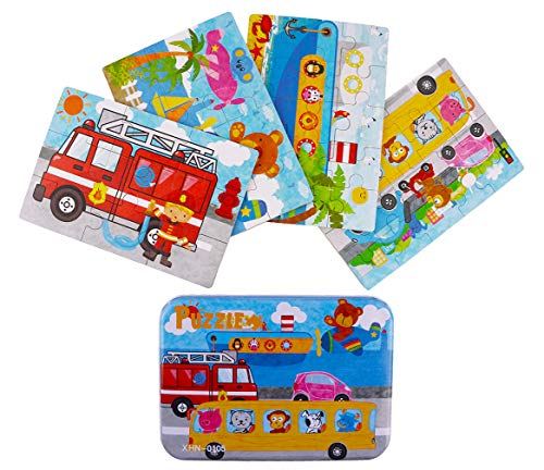 Jigsaw Puzzles for Kids 4-Pack 4 Complexities Wooden Travel Puzzles with an Iron Box Best Gifts for 3-5 Years Old Children