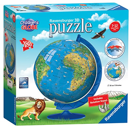 Ravensburger Childrens World Globe 180 Piece 3D Jigsaw Puzzle for Kids and Adults - Easy Click Technology Means Pieces Fit Together Perfectly