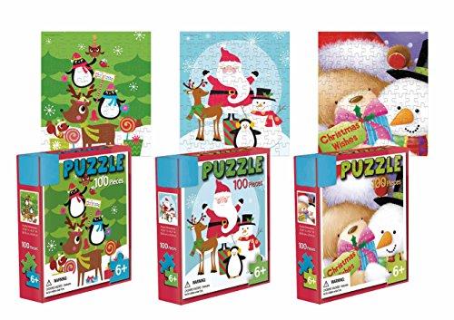 Three 100-Piece Holiday Jigsaw Puzzle Set - 3 Seperate Christmas Themed Puzzles - Snowman Santa Penguin Xmas Tree Jigsaw Puzzles for Kids