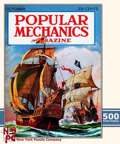 Popular Mechanics Magazine Cover Pirate Battle 500 Piece Jigsaw Puzzle
