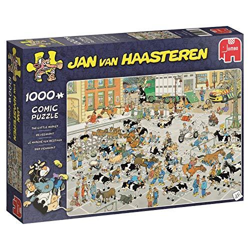 Jumbo 19075 Jan Van Haasteren-The Cattle Market 1000 Piece Jigsaw Puzzle Multi