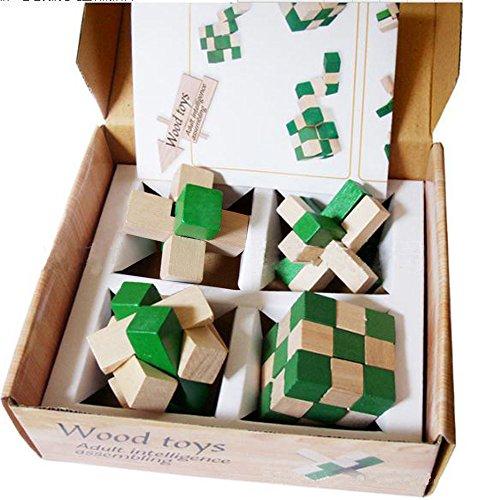 Littlefun 3D Wooden Magic Cube Brain Teaser Puzzles Rubik Chinese Interlocked Lock Block Intelligence Travel Toys Adults and Children Leisure Games 4 Pieces Set