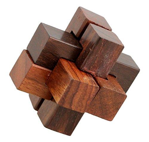 ShalinIndia Handmade Wooden IQ Teaser Puzzle Magic Games Interlock Notch Sticks 2X2X2 Inch For Children Unique Kids Gifts