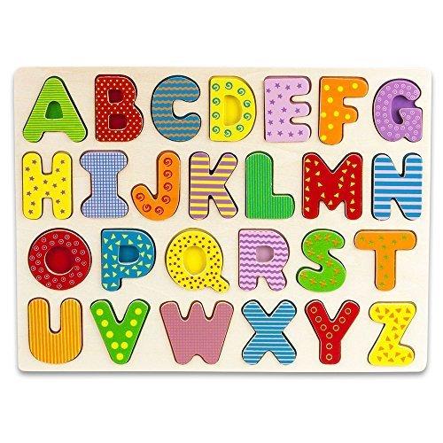 Large Size Wooden Alphabet Puzzle Board - 27 Peice Set