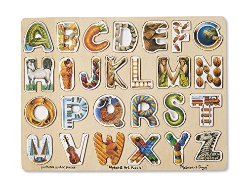 Melissa Doug Alphabet Art Wooden Puzzle 26 pcs