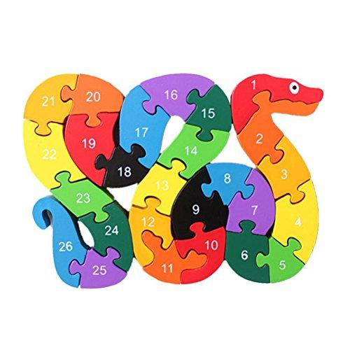 UEETEK Children Educational Games Wooden Alphabet Puzzles Intelligence Snake Toys Gift for Kids