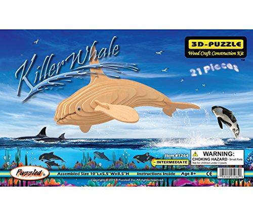 Puzzled Killer Whale Wooden 3D Puzzle Construction Kit