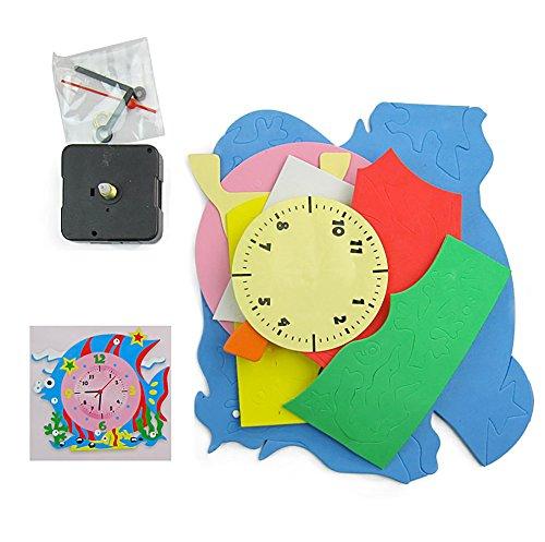 Tangc Kids DIY Kids Animal Shape Learning Clock Puzzles Arts Crafts Kits Baby Toys Random Color