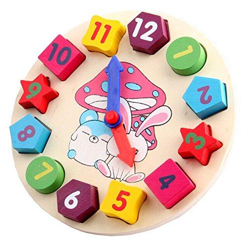 Vidatoy Rabbit Alarm Clock Puzzle Shape Matching Play Toy For Kids