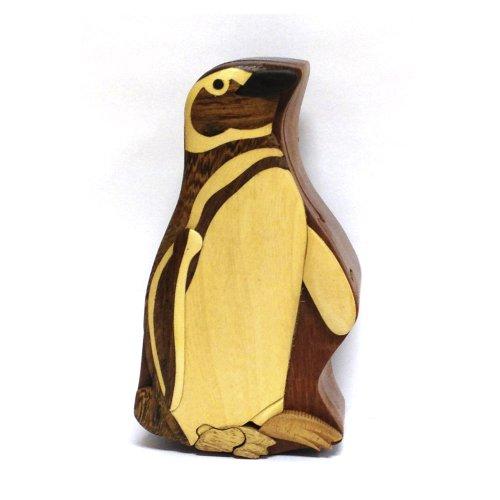 Wood Intarsia Puzzle Box - Penguin
