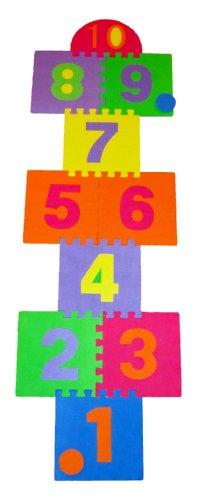 Hopscotch Playmat Foam Interlocking Puzzle Floor Mat - 10 Large Number Tiles 12 by 12 Square Blocks