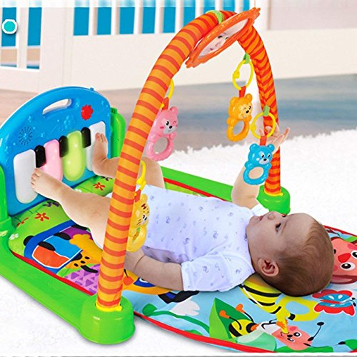XuanYue Colorful Baby Activity Center Play Gym - Kick and Play Baby Mat Newborn Toy with Piano Mirror Cartoon Animal Lay Sit Toys for Cute Baby 1-36 Months