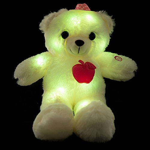 Wewill Adorable LED Light up Glow Teddy Bear Teddy Bear Little Stuffed Toys Stuffed Plush Toy with Colorful Flash LED Light  Stuffed Animal Toy Gifts for Childrens Day 10-Inch Pink