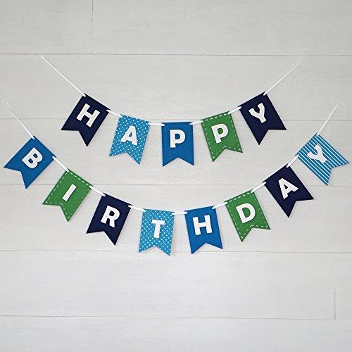 Happy Birthday Banner Bunting Laser Cut Felt 60 inches wide - Blues