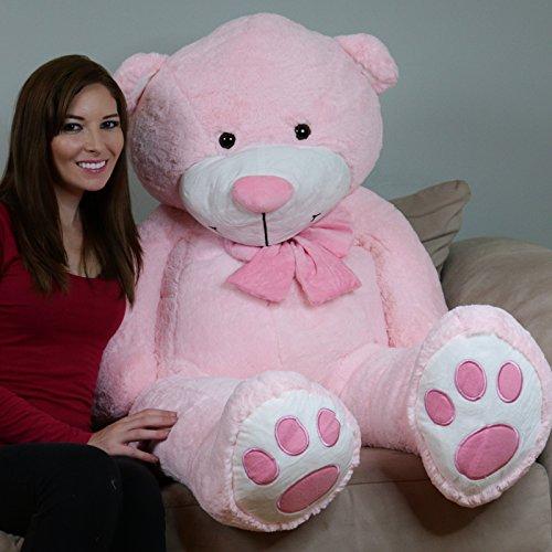 Yesbears 5 Feet Giant Teddy Bear Pink  Microfiber Bowtie
