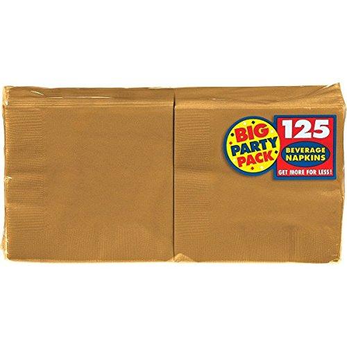 Amscan Big Party Pack 125 Count Beverage Napkins Gold