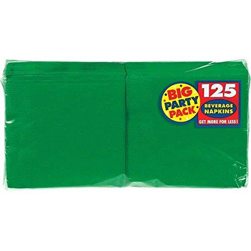 Amscan Big Party Pack 125 Count Beverage Napkins Green