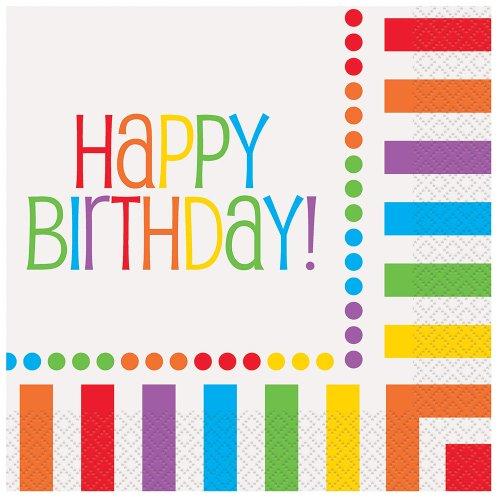 Rainbow Party Happy Birthday Napkins 16ct